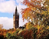 Glasgow University Photo Print, Glasgow University In Autumn, Glasgow University In Fall, Glasgow University Gift, Glasgow Gift, Glasgow Art