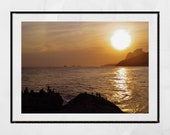 Sunset Rio de Janeiro Arpoador Photography Print, Beach Wall Art, Coastal Print, Rio de Janeiro Print, Sunset Photography, Decor Wall Art,