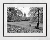 Glasgow Queen's Park Autumn Fall Black And White Photography Print
