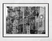 Chinatown New York Photography Print, Chinatown Poster, Chinatown Print, New York Photography, New York City Print, Black And White Print