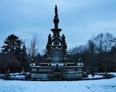Kelvingrove Park Stewart Memorial Fountain In The Snow Glasgow Photography Print