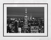 New York Skyline Print, New York Skyline Wall Art, New York Photography Print, New York Poster, New York Gift, Empire State Building Print