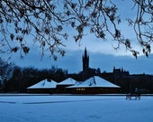Glasgow University and Kelvingrove Lawn Bowls In The Snow Photography Print