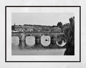 Dumfries River Nith Devorgilla Bridge Black And White Photography Print Poster