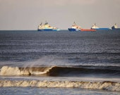 Aberdeen Beach With Ships Photography Print