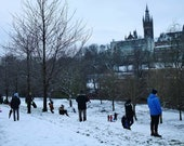 Kelvingrove Park and Glasgow University Sledging In The Snow Photography Print
