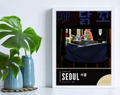 Streets of Seoul South Korea, Hongdae Food Market Art Print