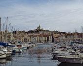 Marseille Photography Print, Marseille Poster, Marseille Skyline, Vieux Port Marseille, Notre Day De La Garde Marseille, Marseille Gift