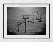 Ski Lift Print, Glencoe Scotland, Ski Poster, Glencoe Ski Resort Poster, Ski Decor, Ski Lift Art, Modern Ski Poster, Ski Gift, Ski Art