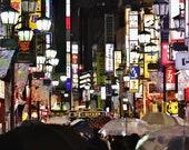 Tokyo In The Rain Picture, Shinjuku, City Photography, Tokyo Photography, Tokyo Poster, Gallery Wall Prints, Japanese Restaurant Decor,