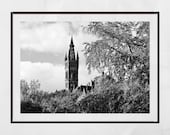 Glasgow University Photography Print, Glasgow Poster, Glasgow University Picture, Glasgow West End Print, Kelvingrove Park, Glasgow Gift,