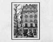 Laduree Paris Champs Elysees Poster, Paris Photography Print, Paris Wall Art, Paris Print, Paris Decor, Black and White Print, Paris Poster