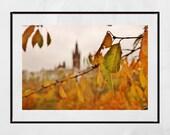 Glasgow University Photography Print, Glasgow University Picture, Glasgow West End Print, Glasgow Poster, Glasgow Gift, Kelvingrove Park