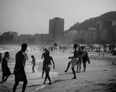 Copacabana Beach Print, Copacabana Beach Photo, Rio De Janeiro Print, Football Photo, Football Print, Football Photography, Black and White