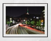 Seoul Skyline Poster Namsan Tower Photography Print