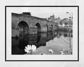 Dumfries Scotland River Nith Flower Devorgilla Bridge Black And White Photography Print Poster