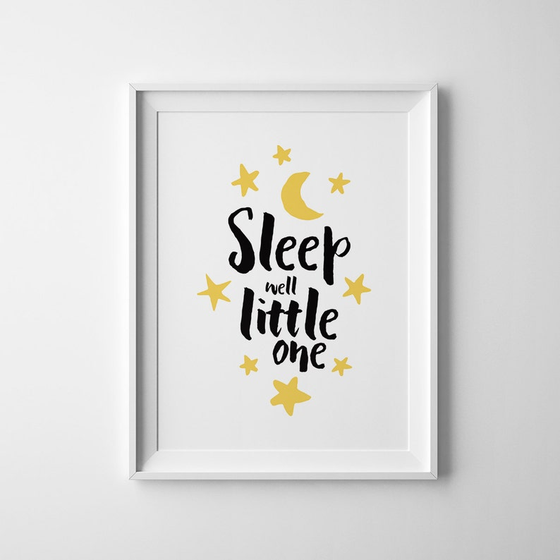 Sleep Well Little One Nursery Printable Poster Wall Art Etsy