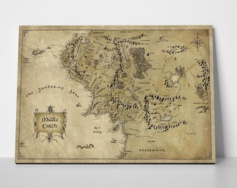 lord of the rings the hobbit vintage middle earth map