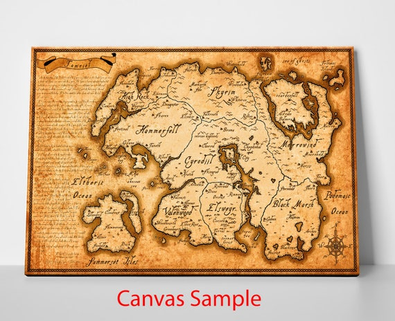 Elder Scrolls Map of Tamriel | Etsy