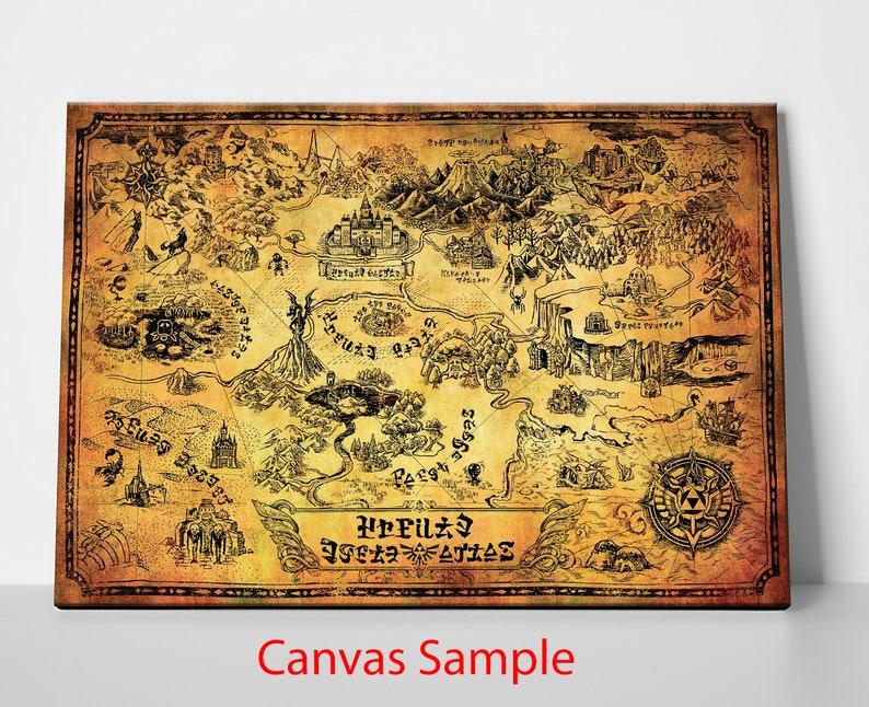 Legend Of Zelda Untranslated Vintage World Map Revised Etsy