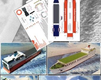 Card Craft Easy Build Model Ferry Kit Reine Astrid Townsend Thoresen RVM