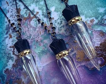 Potion Bottle III Carved Carnelian Agate Potion Bottle /& Pyrite Cabochon Gemstone Pendant Neckace