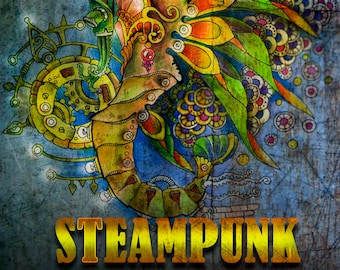 Steampunk Adult Coloring Book (Coloring Pages, Coloring Book Printable, Stress Relieving, Coloring Book PDF, Art Therapy, Book for Adults)