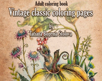 Vintage Classic Coloring Pages Adult Book Relaxing Digital Animals Flowers Fairies And More