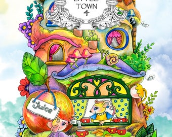 Nice Little Town 4 Adult Coloring Book Pages PDF Printable For Stress Relieving Relaxation