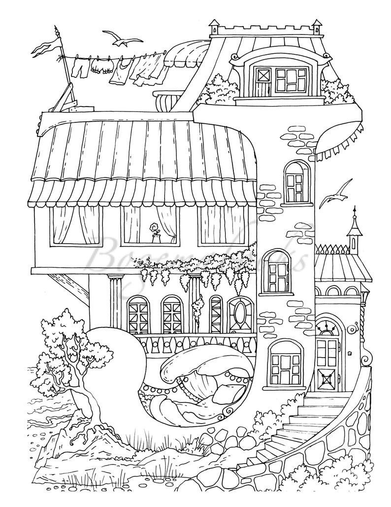 Nice Little Town: ABC Adult Coloring Book Coloring pages ...