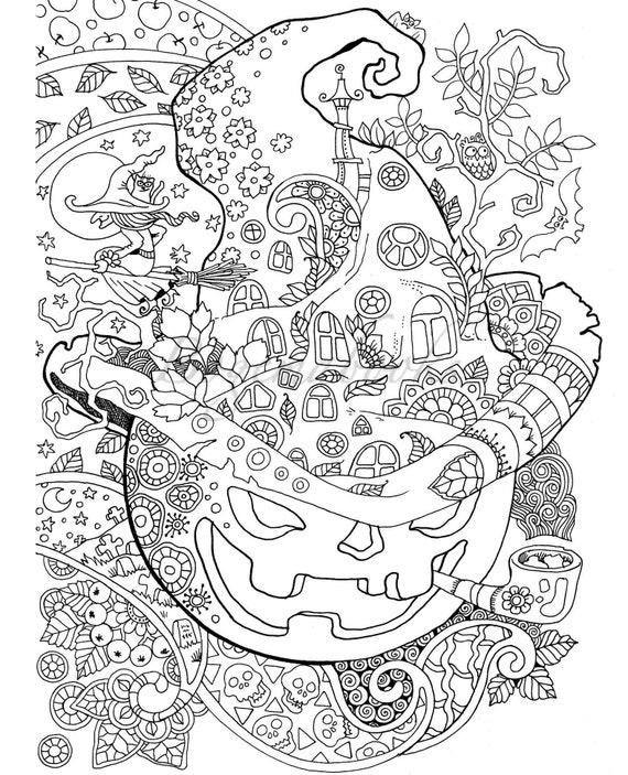 Halloween: Adult Coloring Book PDF Coloring Pages Digital Etsy