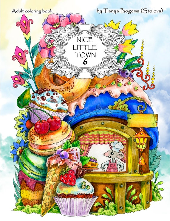 Nice Little Town 6 (Adult Coloring Book, Coloring pages PDF, Coloring Pages  Printable, For Stress Relieving, For Relaxation)