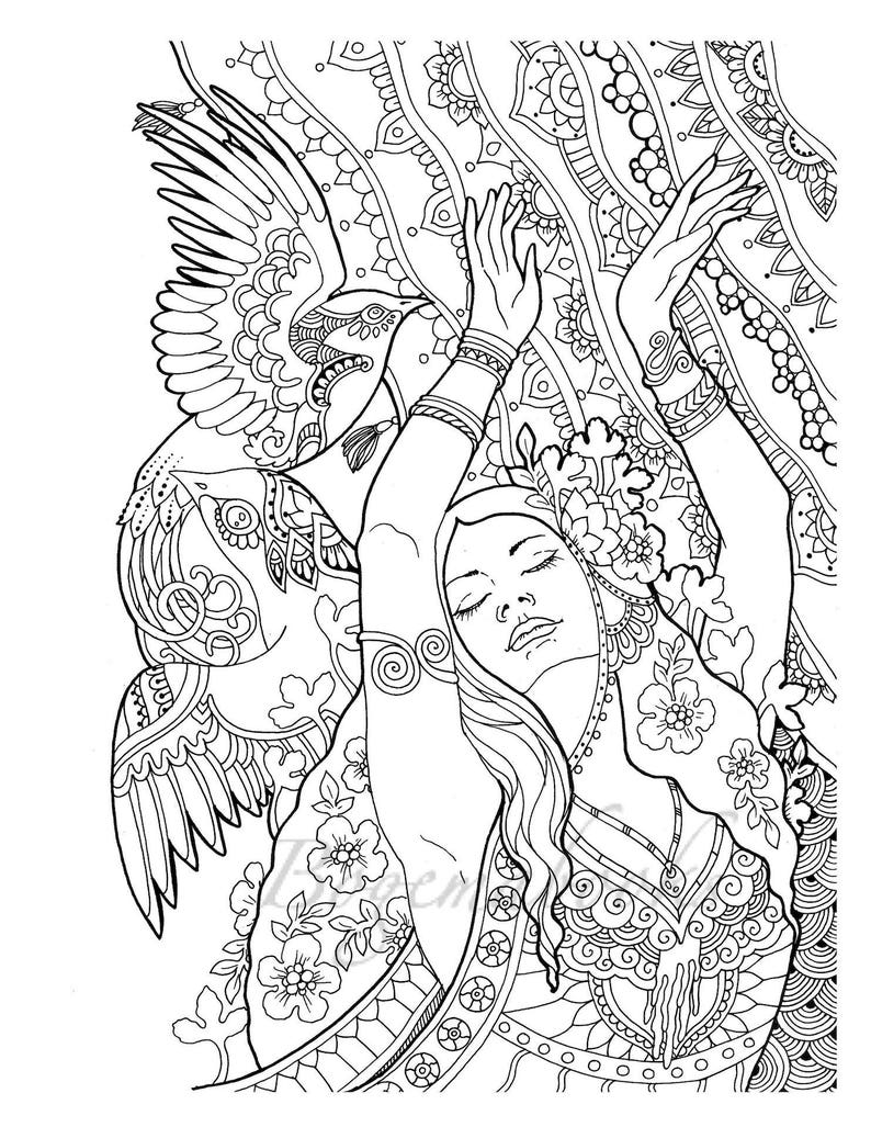 Cute Girs Adult Coloring Pages Digital Coloring Pages Printable Coloring Book Printable Stress Relieving