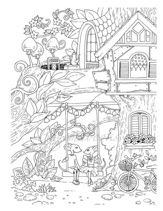 Nice Little Town 5 (Adult Coloring Book, Coloring pages PDF, Coloring Pages  Printable, For Stress Relieving, For Relaxation)