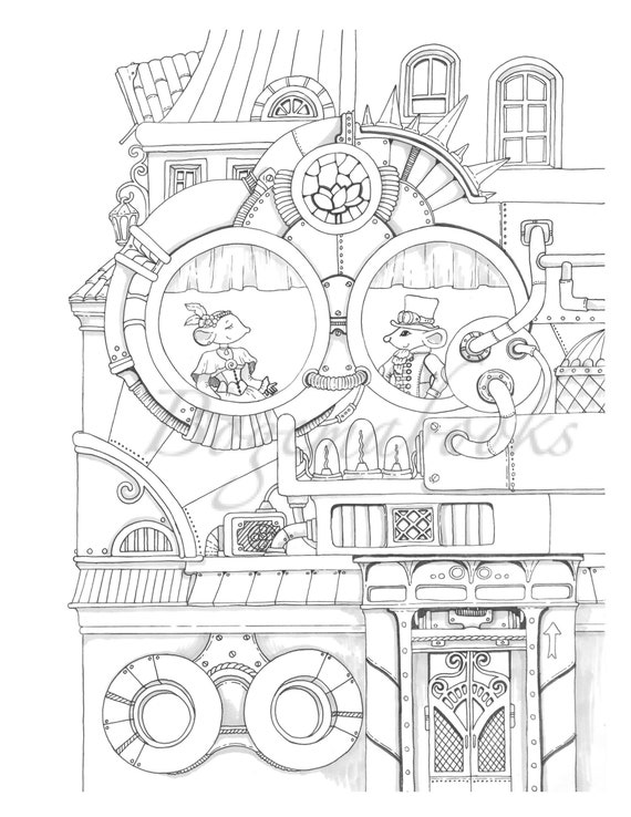 Nice Little Town 8 Adult Coloring Book Coloring Pages Pdf Etsy