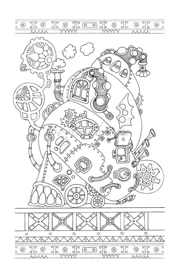 Steampunk Adult Coloring Book Pages Printable Stress Relieving PDF Art Therapy For Adults