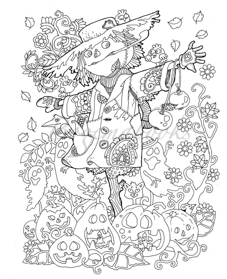 Halloween Adult Coloring Book Pdf Digital Pages For Etsy