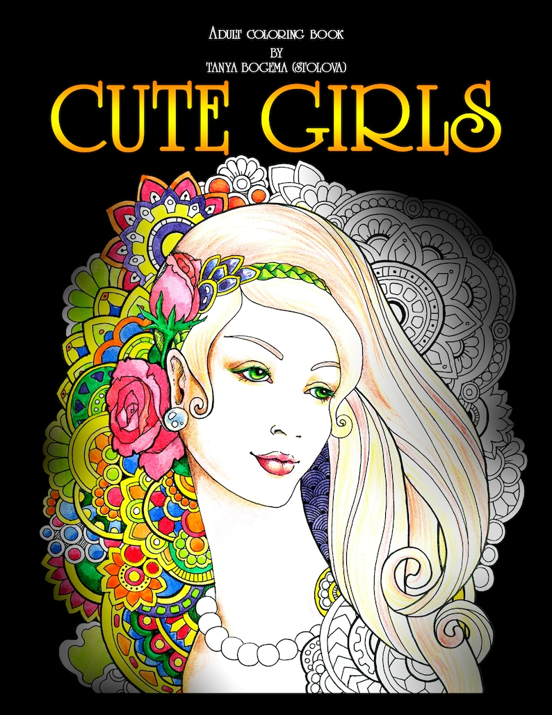 Cute Girs Adult Coloring Pages Digital Coloring Pages Etsy