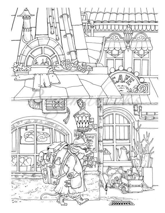 Nice Little Town 8 (Adult Coloring Book, Coloring pages PDF, Coloring Pages  Printable, For Stress Relieving, For Relaxation)
