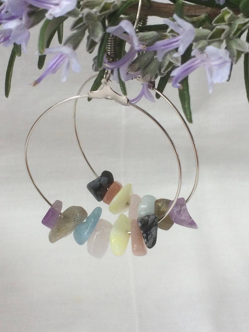 beaded hoops,sunstone,obsidian jewelry,thin wire hoops,