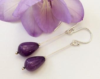 sterling silver purple agate earrings,french hooks,silver earrings,purple earrings,elegant earrings,agate,long drop earrings,bright purple