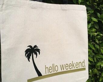 Hello Weekend Canvas Market Tote Bag