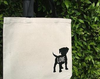 Puppy Love Canvas Market Tote Bag