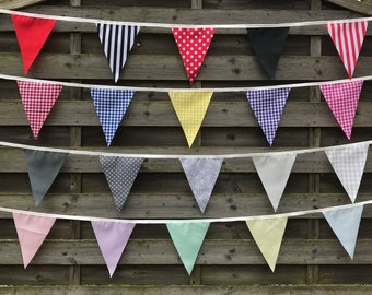 FABRIC BUNTING BANNER Clearance, 10ft/20ft/40ft/120ft.Bright garland to decorate any size space.