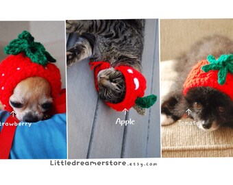 Strawberry Hat, Tomato Hat, Apple Hat for Dog or Cat