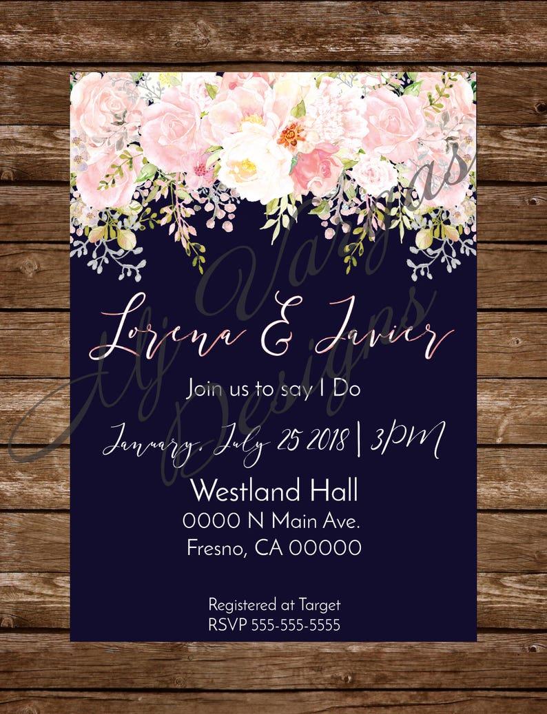 4d5614e5a Azul Marino y Rosa Invitacion de boda Digital Flores y azul