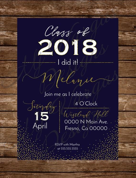 Invitacion para Fiesta de Graduacion Dorado y Azul Marino   Etsy