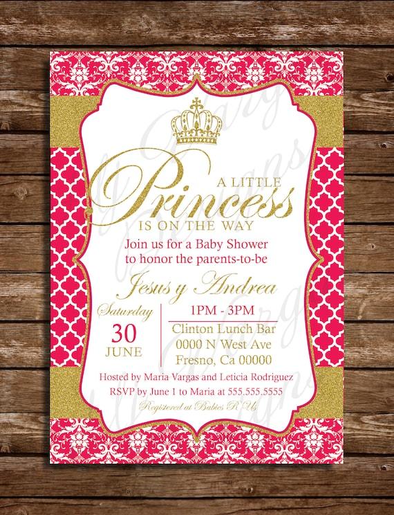 Jasnoróżowe I Złote Księżniczki Na Drodze Druku Baby Shower Etsy