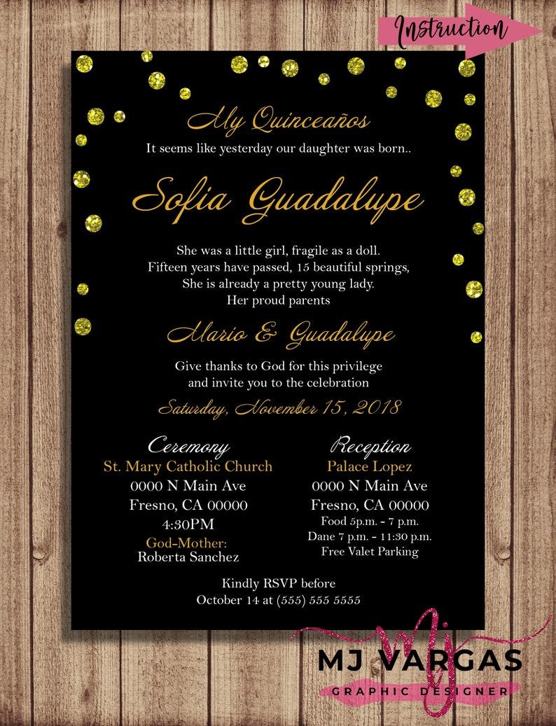 Gold Fifteen Birthday Invitation Printable