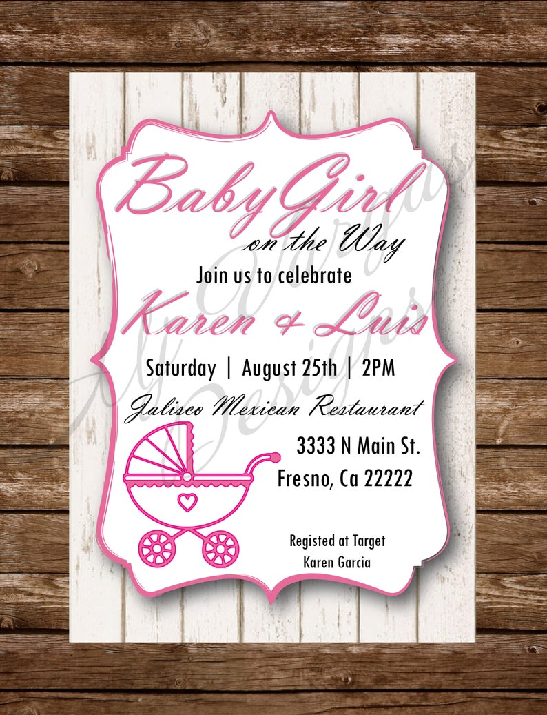 DIGITAL Invitacion para Baby Shower Mujercita Niña Hombrecito Niño | Baby Girl Boy on the way Wood New parents Mom to be Printable(5x7in)